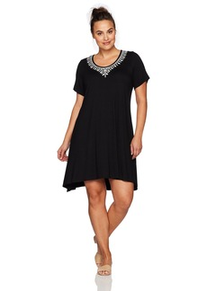 Karen Kane Women's Plus Size Embroidered Handkerchief Dress  3X