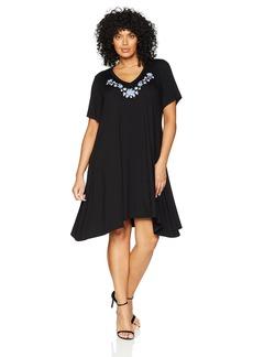 Karen Kane Women's Plus Size Embroidered Handkerchief Dress