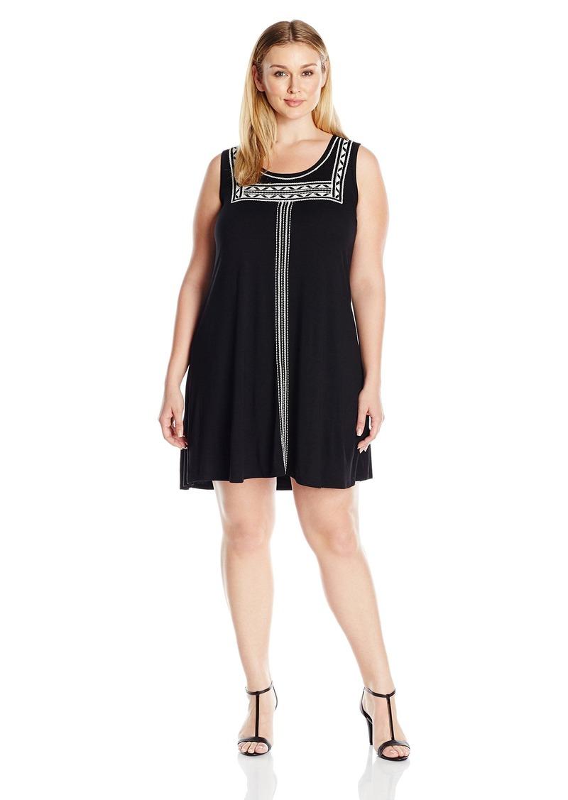 Women\'s Plus Size Embroidered Sleeveless Trapeze Dress 1X