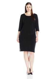 Karen Kane Women's Plus Size Faux Leather Inset Dress