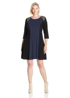 Karen Kane Women's Plus Size Faux Suede Yoke Colorblock Dress Navy with Black 1X