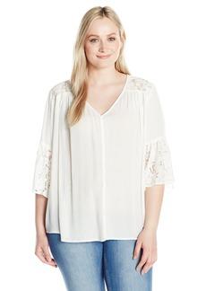 Karen Kane Women's Plus Size Flare Sleeve Lace Inset Top