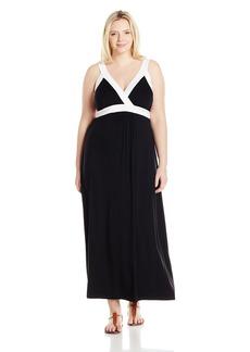 Karen Kane Women's Plus Size Jersey Banded Maxi Dress Black with White 2X