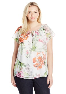 Karen Kane Women's Plus Size Keyhole Front Top