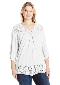 Karen Kane Women's Plus Size Lace Inset Top