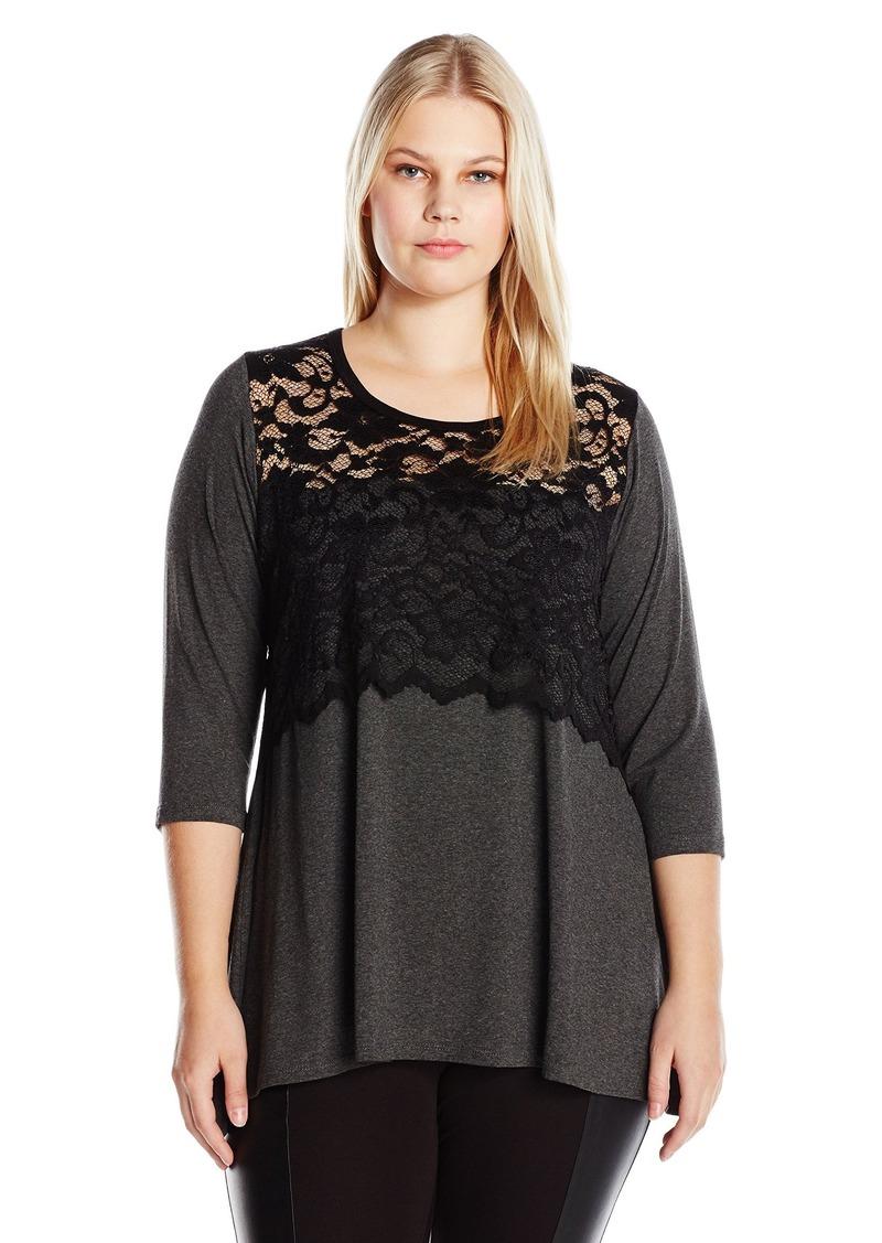 Karen Kane Women's Plus Size Lace Overlay Handkerchief Top
