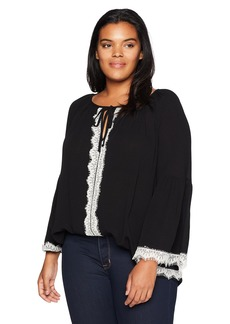 Karen Kane Women's Plus Size Lace Sleeve Top