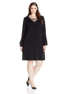 Karen Kane Women's Plus Size Lace-up Flare Sleeve Dress  0X