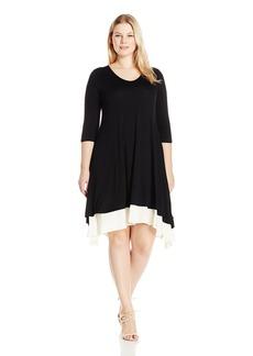 Karen Kane Women's Plus Size Layered Handkerchief Hem Dress  1X