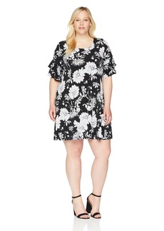 Karen Kane Women's Plus Size Ruffle Sleeve Dress