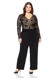 Karen Kane Women's Plus Size Scallop Lace Palazzo Jumpsuit