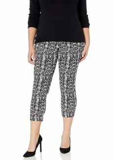 Karen Kane Women's Plus Size Snake Print Piper Pants Black with White