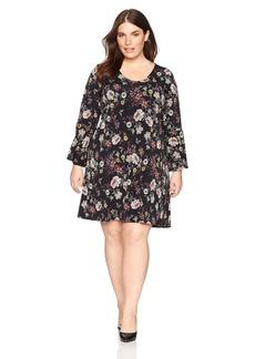 Karen Kane Women's Plus Size V-Neck Bell Sleeve Dress  2X