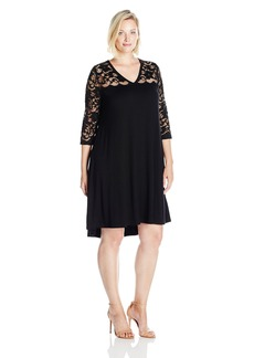 Karen Kane Women's Plus Size V-Neck Lace Yoke Swing Dress
