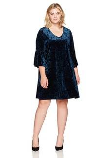 Karen Kane Women's Plus Size Velvet Bell Sleeve Dress  1X