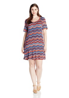 Karen Kane Women's Plus Size Wavy T-Shirt Dress  2X