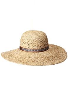 Karen Kane Women's Raffia Straw Jacquard Floppy Hat