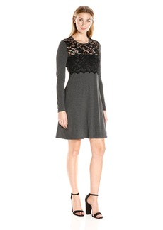 Karen Kane Women's Scallop Lace Overlay Dress  L