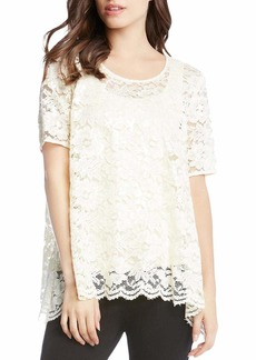 Karen Kane Women's Sequin Lace Flare Top