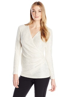 Karen Kane Women's Sparkle Faux Wrap Top  X-Small