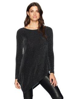 Karen Kane Women's Sparkle Knit Angle-Hem Top Black with Silver XL