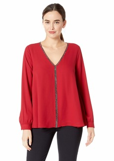 Karen Kane Women's Sparkle Long Sleeve TOP RED Extra Small