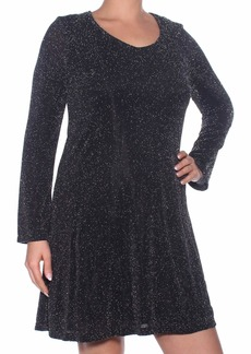 Karen Kane Women's Sparklet Knit Taylor Dress Black with Silver L