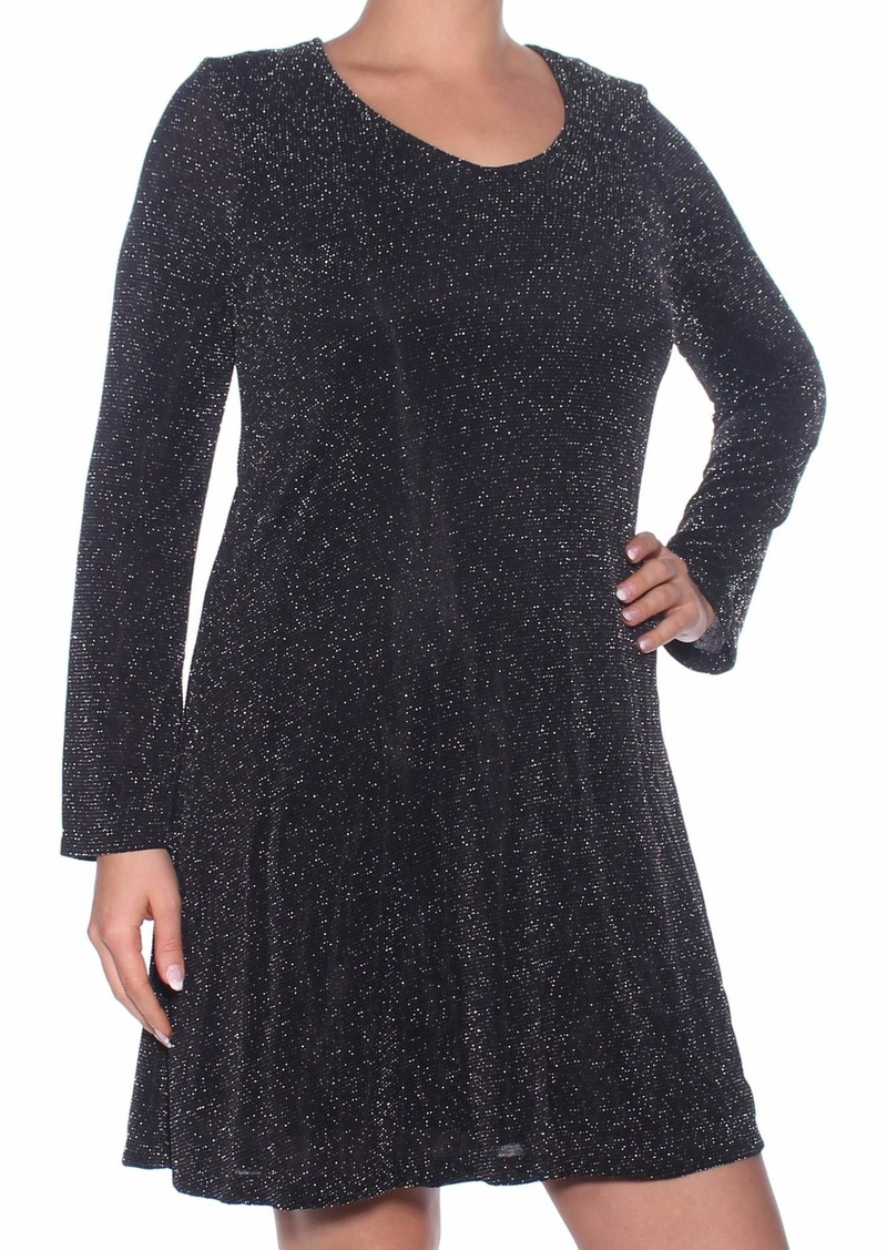Karen Kane Women's Sparklet Knit Taylor Dress Black with Silver L