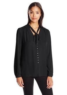 Karen Kane Women's Tie-Neck Button-Front Blouse  XL