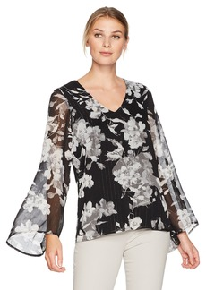 Karen Kane Women's V-Neck Flare Sleeve Top  XL