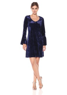 Karen Kane Women's Velvet Bell Sleeve Dress  L