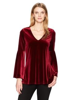 Karen Kane Women's Velvet Bell Sleeve V-Neck Top  S