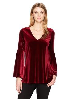 Karen Kane Women's Velvet Bell Sleeve V-Neck Top  XL
