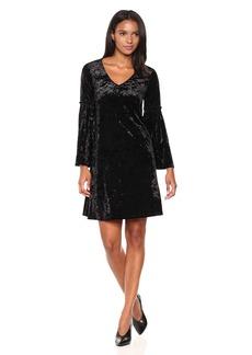 Karen Kane Women's Velvet V-Neck Bell Sleeve Dress  XL