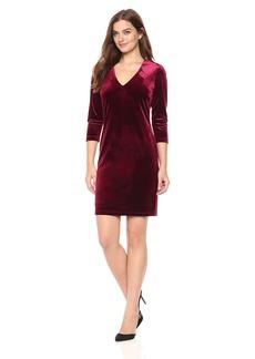Karen Kane Women's Velvet V-Neck Sheath Dress  L