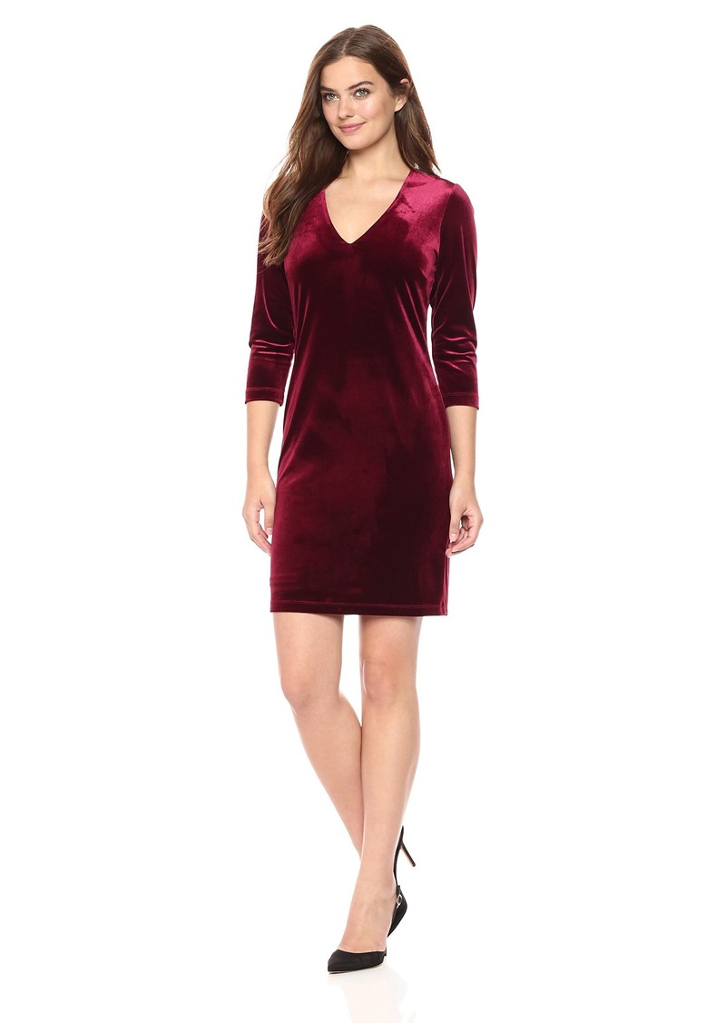 Karen Kane Women's  Velvet V-Neck Sheath Dress L