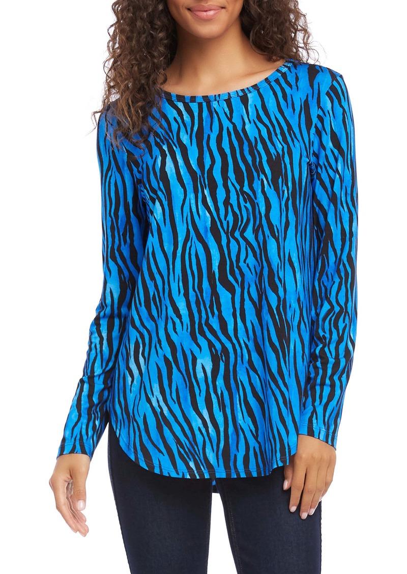 Karen Kane Zebra Print Long Sleeve Shirttail Tee