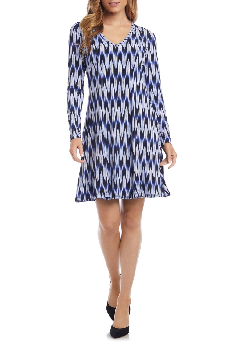 Karen Kane Zigzag Print Long Sleeve A-Line Dress