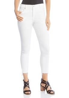 Karen Kane Zuma Cropped Raw Step-Hem Jeans in White