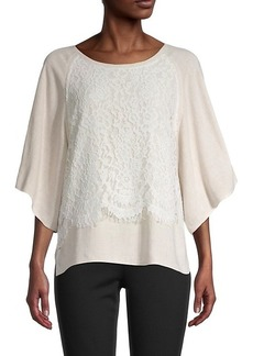 Karen Kane Lace & Linen-Blend Draped Top