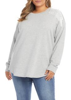 Plus Size Women's Karen Kane Fringe Shoulder Sweatshirt