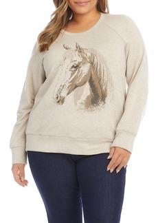 Plus Size Women's Karen Kane Horse Print Graphic Sweatshirt