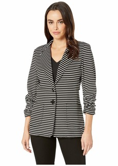 Karen Kane Shirred Sleeve Stripe Jacket