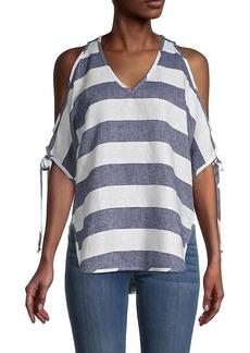 Karen Kane Stripe Cold-Shoulder Linen & Cotton Top