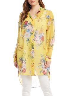 Women's Karen Kane Floral Print Long Button-Up Shirt