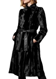 KAREN MILLEN Belted Faux Fur Coat