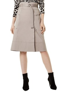 KAREN MILLEN Belted Faux-Wrap Skirt