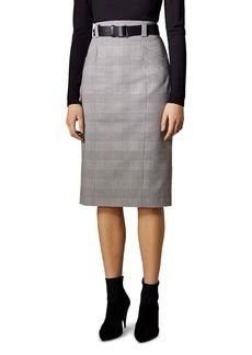 KAREN MILLEN Belted Glen Plaid Pencil Skirt