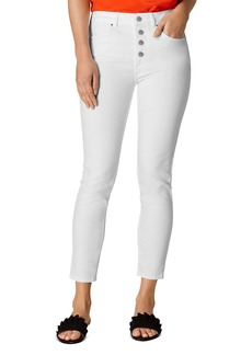 KAREN MILLEN Button Fly Ankle Skinny Jeans in White