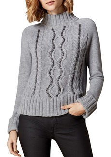 KAREN MILLEN Chain-Trim Cable-Knit Sweater